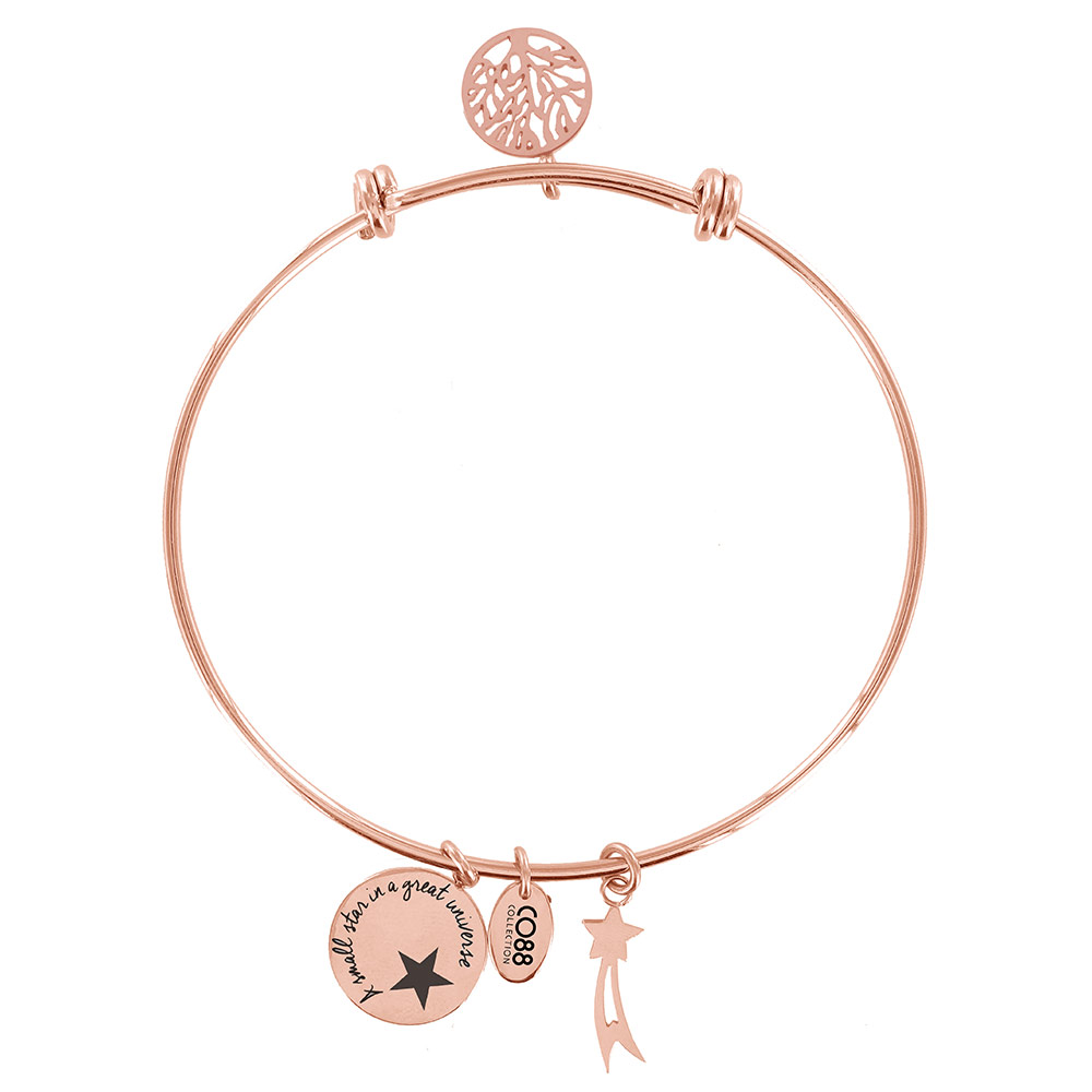 CO88 Collection Celestial 8CB 11005 Stalen Armband met Hangers - Levensboom en Komeet - One-size - R