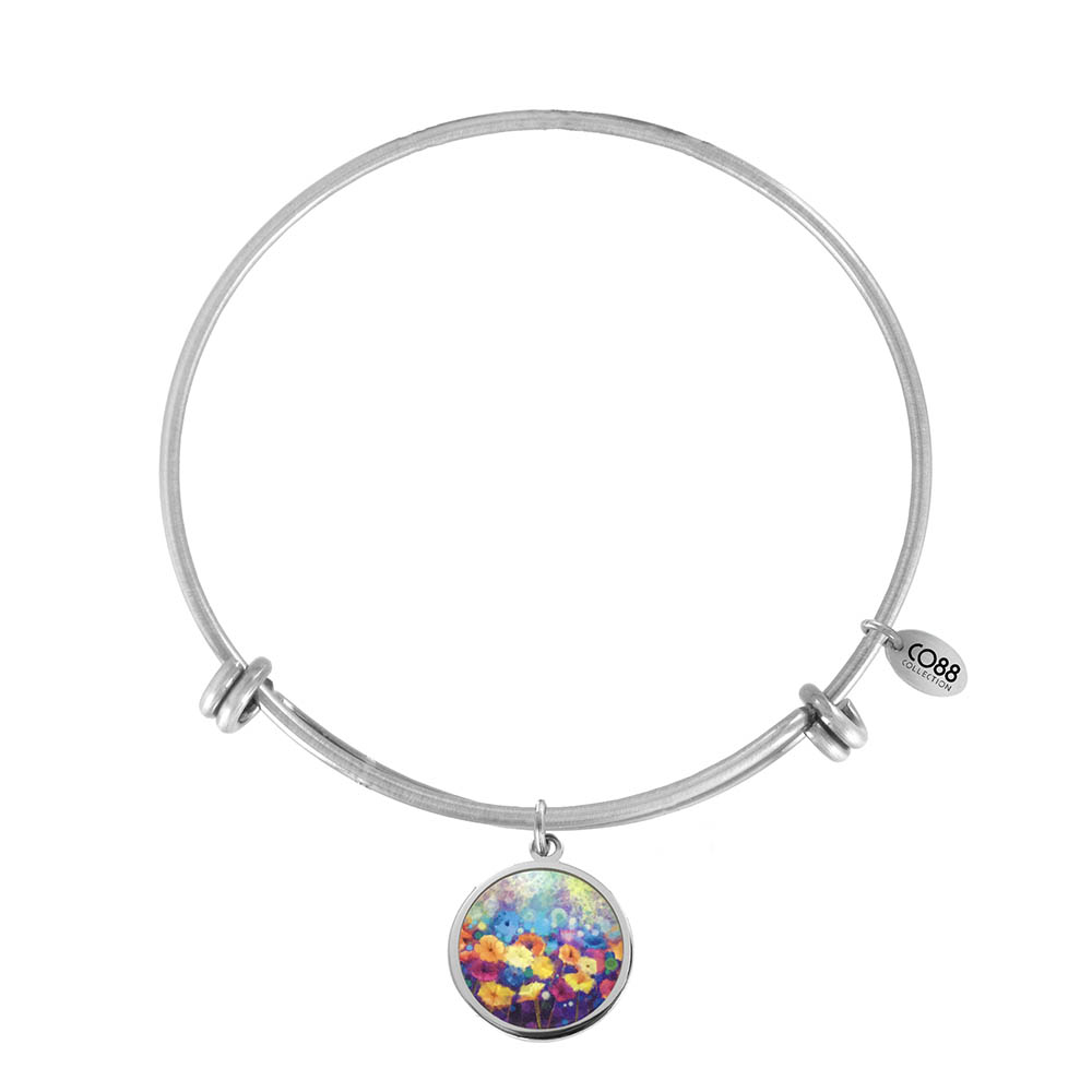 CO88 Collection Elemental 8CB 11028 Stalen Armband met Hangers - Gerbera Ø 20 mm - One-size -